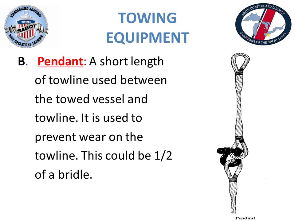 TOWING EQUIPMENT B. Pendant: A short length of towline used between the towed vessel and towline.