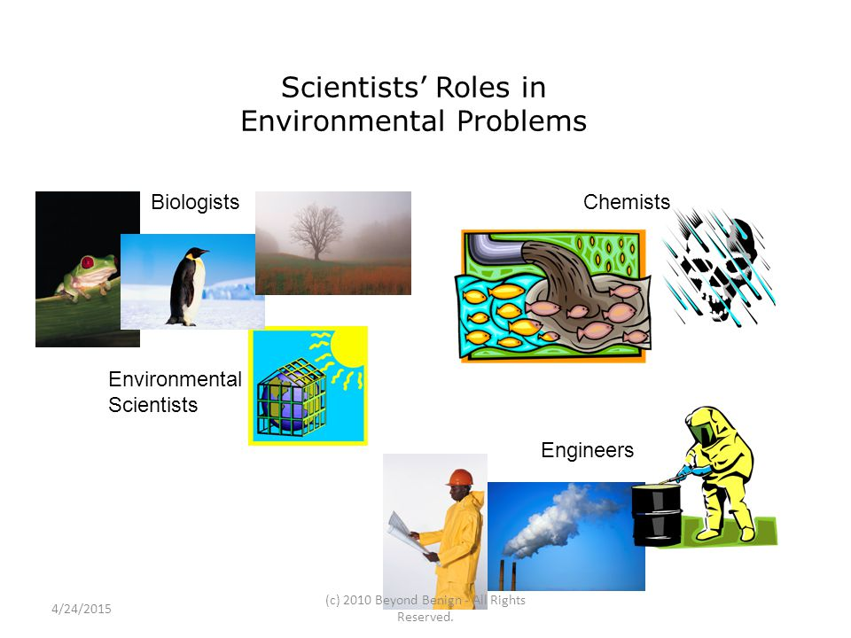 Scientists' Roles in Environmental Problems BiologistsChemists Engineers Environmental Scientists 4/24/2015 (c) 2010 Beyond Benign - All Rights Reserv