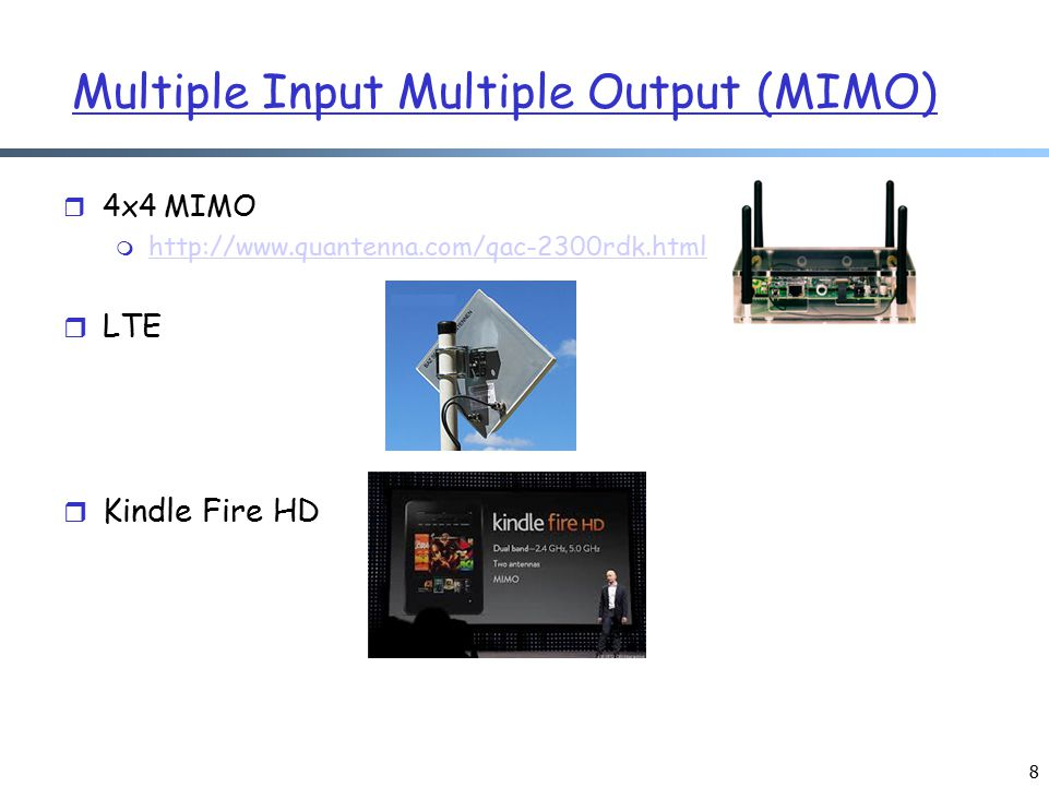 Multiple Input Multiple Output (MIMO) r 4x4 MIMO m http://www.quantenna.com/qac-2300rdk.html http://www.quantenna.com/qac-2300rdk.html r LTE r Kindle Fire HD 8