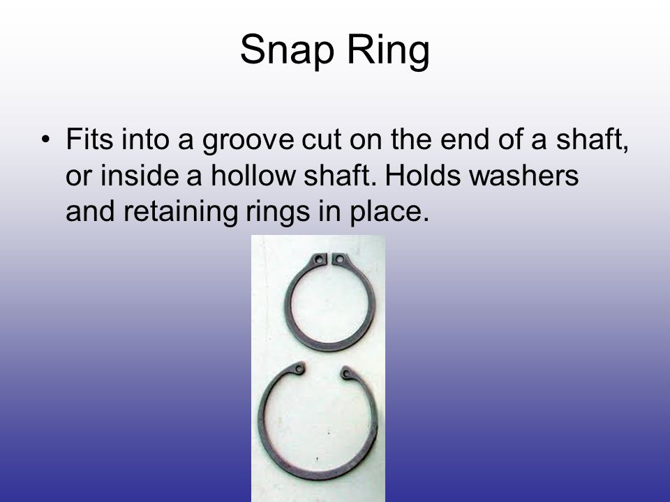Snap Ring Fits into a groove cut on the end of a shaft, or inside a hollow shaft.