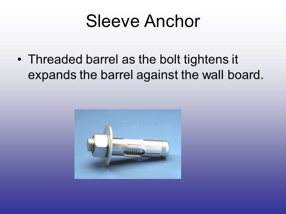 Sleeve Anchor Threaded barrel as the bolt tightens it expands the barrel against the wall board.
