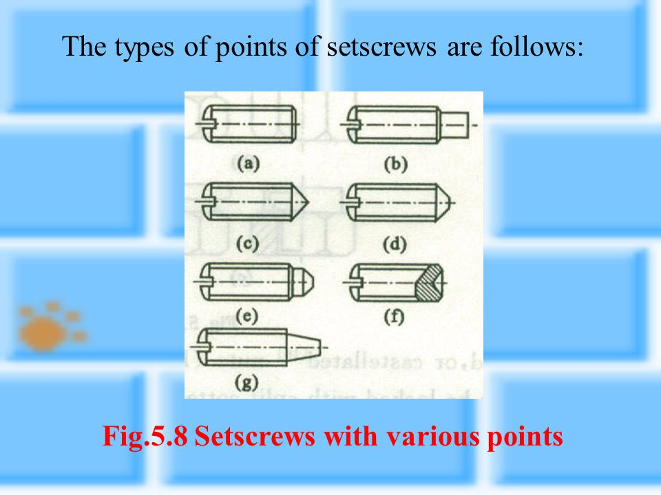 Setscrews are another form of fastener; the usual use for them is to prevent relative circular motion between two parts such as shafts and pulleys. Th