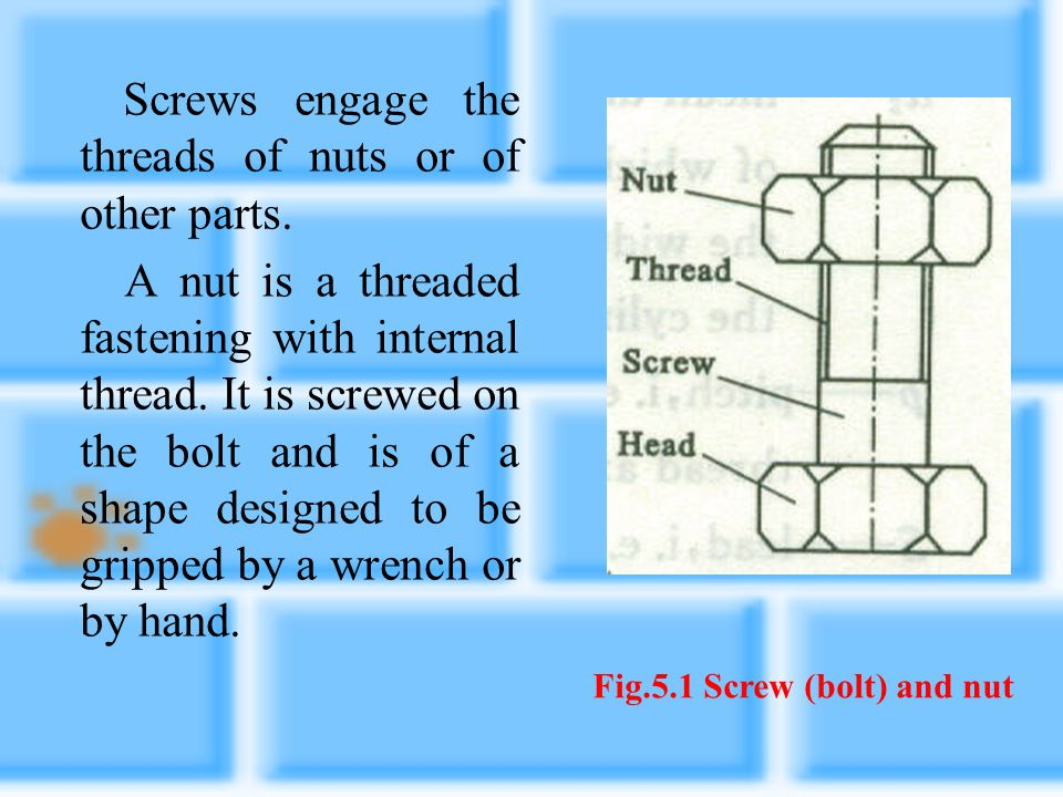CHAPTER 5 DESIGN OF THREADED FASTENNERS AND JIONTS 5.1 BASIC CONCEPTS Screws have been used as fasteners for a long time. Screw or thread joints are s