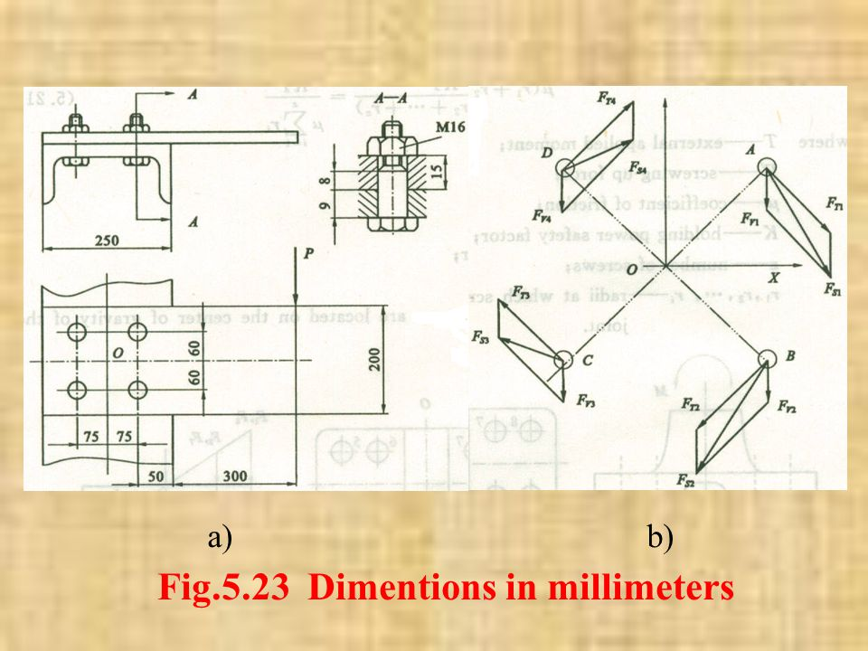 Example 5.1 Shown in Fig.5.23(a) is a 15-by 200-mm rectangular steel bar cantilevered to a 250-mm steel channel by using four bolts. Based on the exte