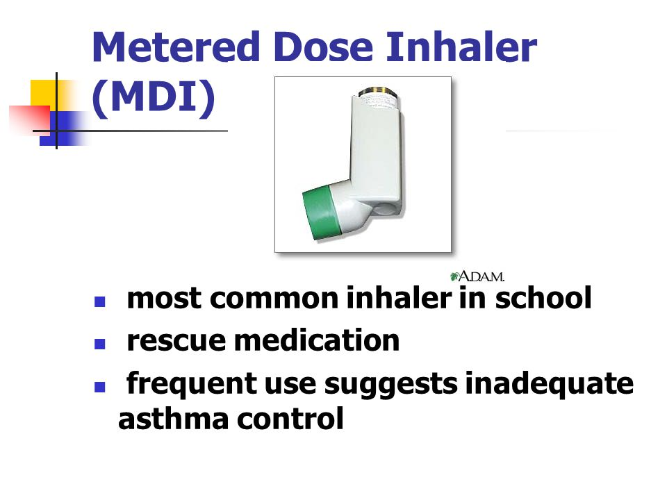 Metered Dose Inhaler (MDI) most common inhaler in school rescue medication frequent use suggests inadequate asthma control