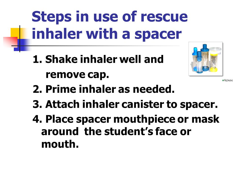 Steps in use of rescue inhaler with a spacer 1. Shake inhaler well and remove cap.