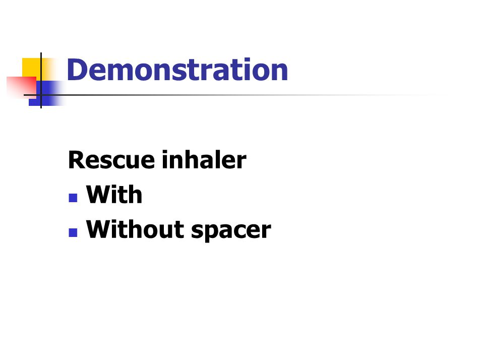Demonstration Rescue inhaler With Without spacer