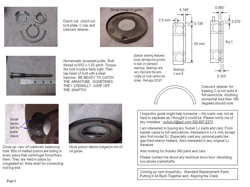 Page 8 Close-up view of crankweb balancing hole.