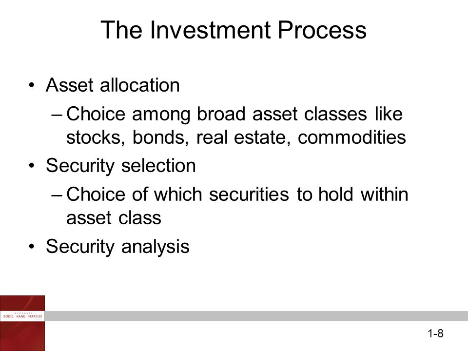 1-8 The Investment Process Asset allocation –Choice among broad asset classes like stocks, bonds, real estate, commodities Security selection –Choice of which securities to hold within asset class Security analysis