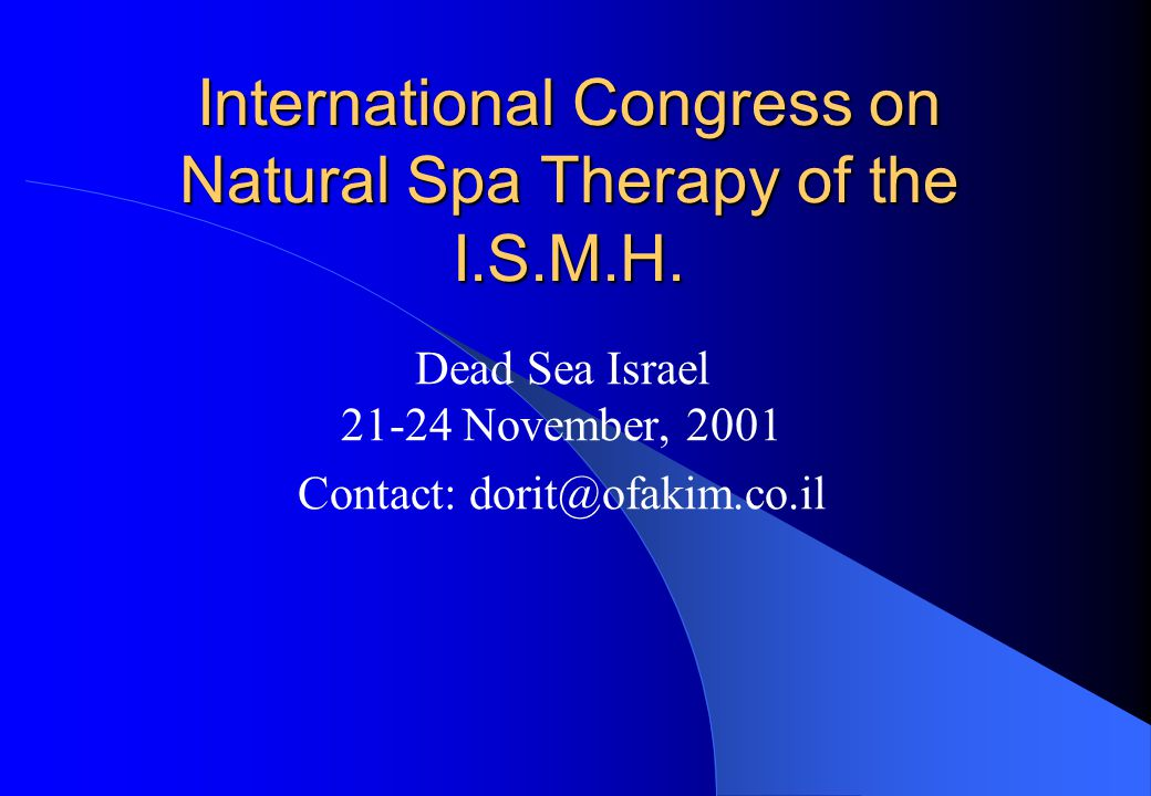 International Congress on Natural Spa Therapy of the I.S.M.H.