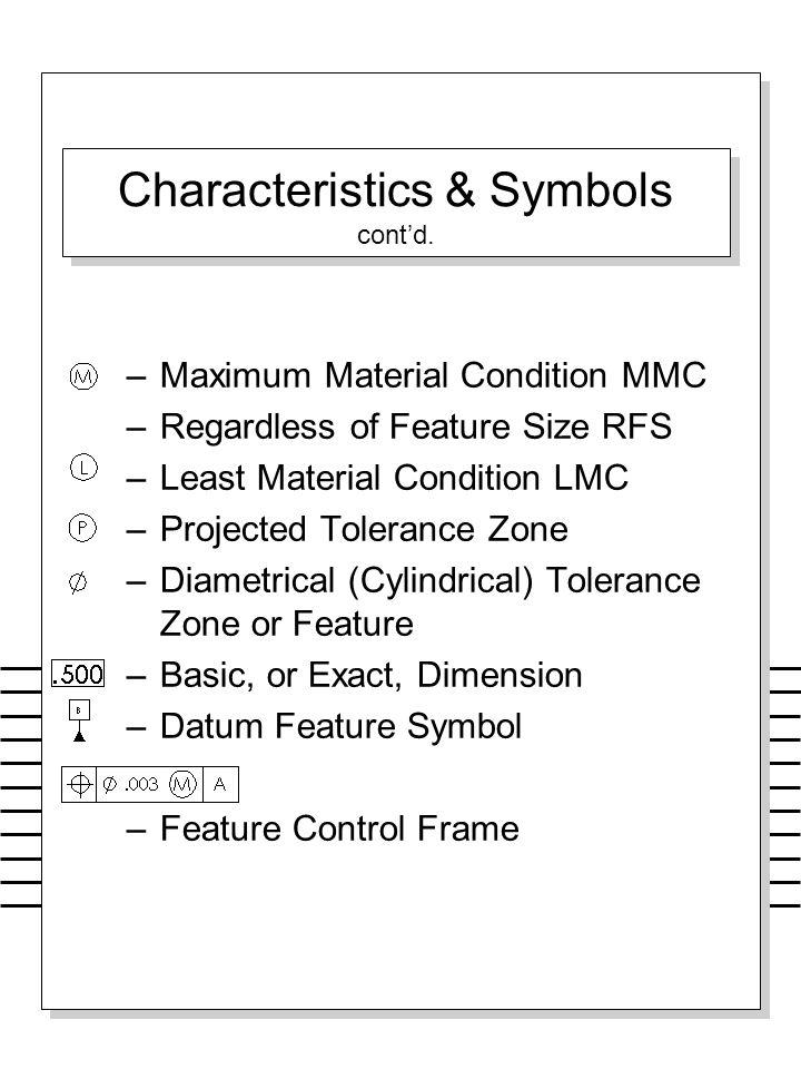 Characteristics & Symbols cont'd. –Maximum Material Condition MMC –Regardless of Feature Size RFS –Least Material Condition LMC –Projected Tolerance Z