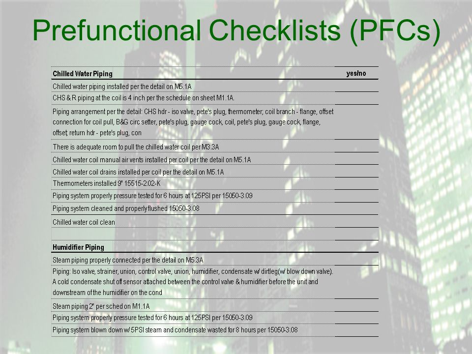 Prefunctional Checklists (PFCs)