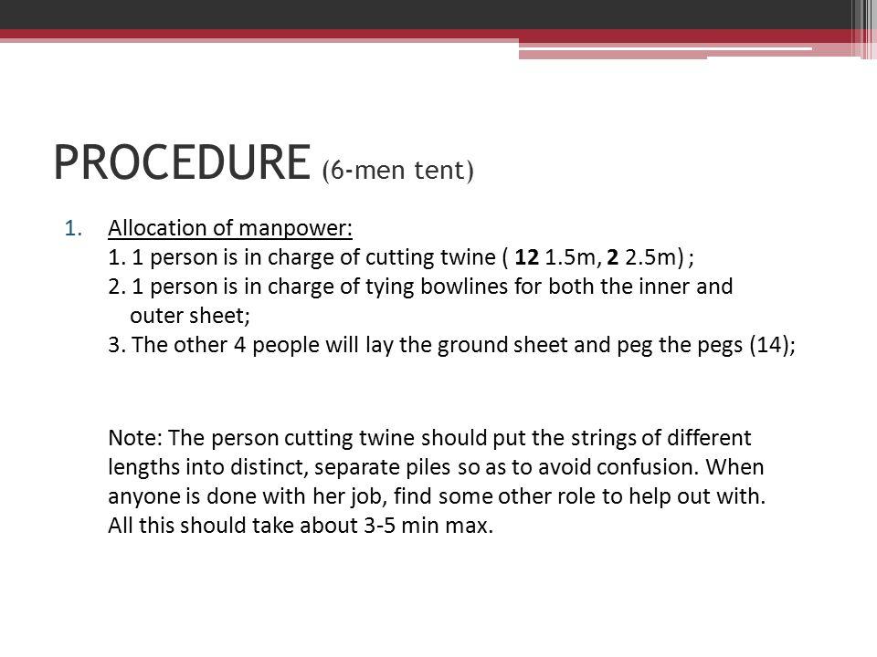 PROCEDURE (6-men tent) 1.Allocation of manpower: 1.