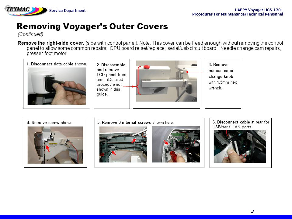 HAPPY Voyager HCS-1201 Procedures For Maintenance/Technical Personnel Service Department 24 Chapter 4: Troubleshooting & Maintenance 24 The knife base is the rigid platform above the rotary hook, on which the moving and fixed knife is mounted.