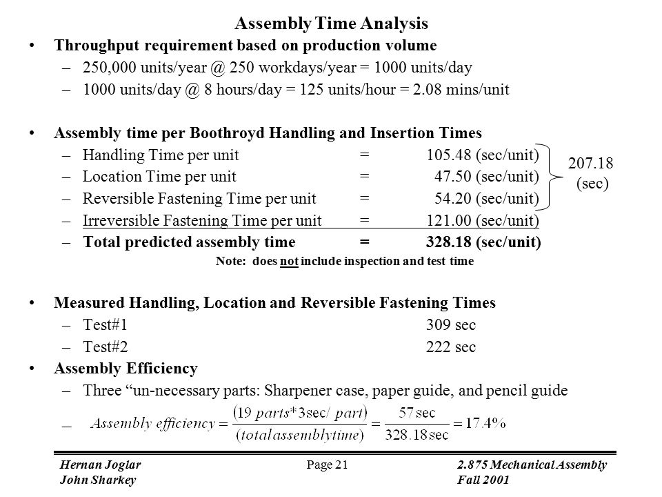 Hernan Joglar 2.875 Mechanical Assembly John SharkeyFall 2001 Page 21 Throughput requirement based on production volume –250,000 units/year @ 250 workdays/year = 1000 units/day –1000 units/day @ 8 hours/day = 125 units/hour = 2.08 mins/unit Assembly time per Boothroyd Handling and Insertion Times –Handling Time per unit=105.48 (sec/unit) –Location Time per unit= 47.50 (sec/unit) –Reversible Fastening Time per unit= 54.20 (sec/unit) –Irreversible Fastening Time per unit=121.00 (sec/unit) –Total predicted assembly time=328.18 (sec/unit) Note: does not include inspection and test time Measured Handling, Location and Reversible Fastening Times –Test#1309 sec –Test#2222 sec Assembly Efficiency –Three un-necessary parts: Sharpener case, paper guide, and pencil guide – 207.18 (sec) Assembly Time Analysis