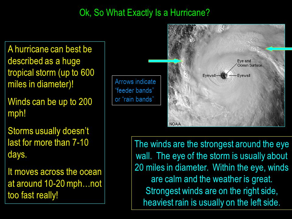 Ok, So What Exactly Is a Hurricane? A hurricane can best be described as a huge tropical storm (up to 600 miles in diameter)! Winds can be up to 200 m