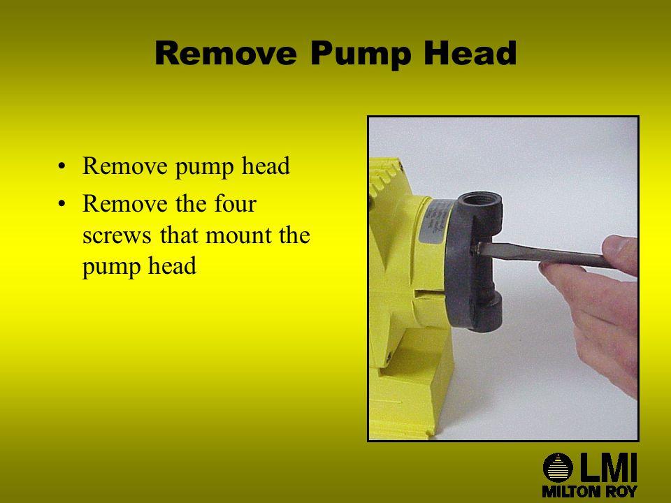 Remove Pump Head Remove pump head Remove the four screws that mount the pump head