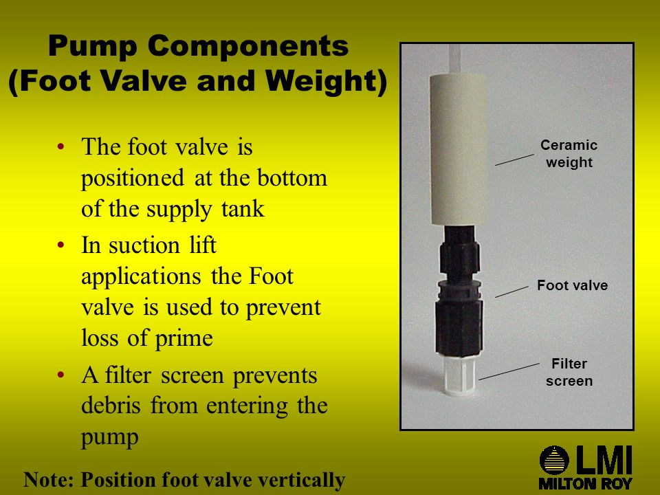 Pump Components (Foot Valve and Weight) The foot valve is positioned at the bottom of the supply tank In suction lift applications the Foot valve is used to prevent loss of prime A filter screen prevents debris from entering the pump Note: Position foot valve vertically Ceramic weight Foot valve Filter screen