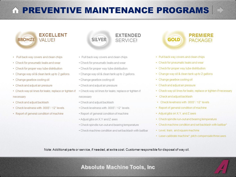 PREVENTIVE MAINTENANCE PROGRAMS Absolute Machine Tools, Inc EXCELLENT VALUE.