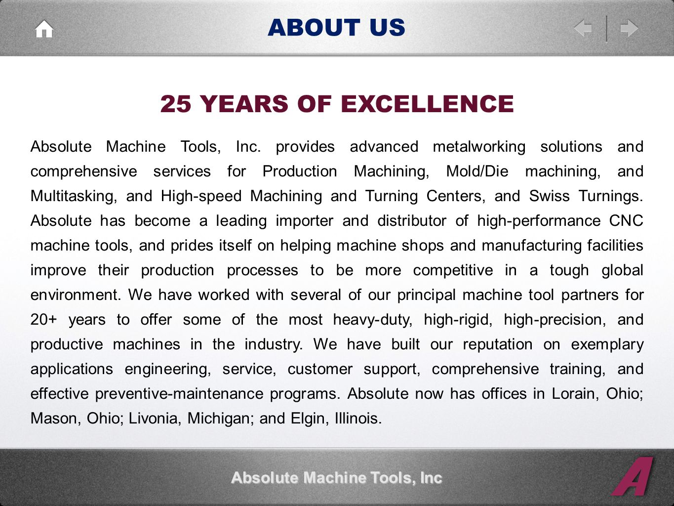 ABOUT US 25 YEARS OF EXCELLENCE Absolute Machine Tools, Inc Absolute Machine Tools, Inc.