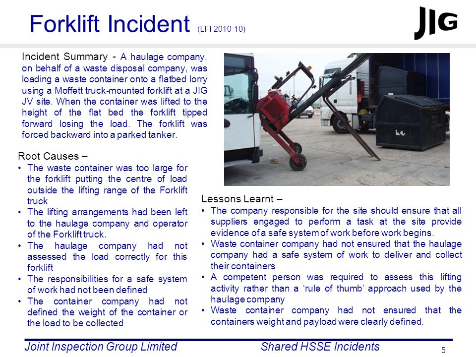 Joint Inspection Group LimitedShared HSSE Incidents 5 Forklift Incident (LFI 2010-10) Incident Summary - A haulage company, on behalf of a waste disposal company, was loading a waste container onto a flatbed lorry using a Moffett truck-mounted forklift at a JIG JV site.