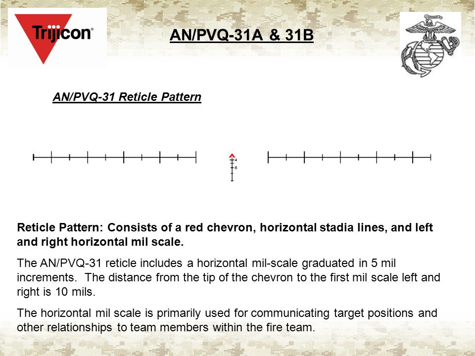 AN/PVQ-31A & 31B AN/PVQ-31 Reticle Pattern Reticle Pattern: Consists of a red chevron, horizontal stadia lines, and left and right horizontal mil scale.
