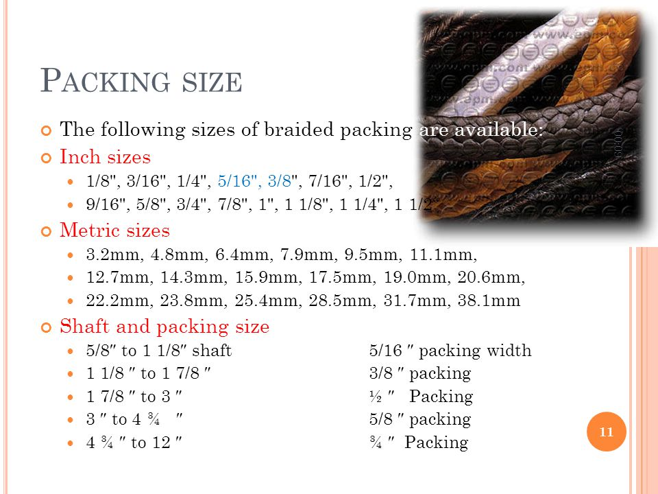P ACKING SIZE The following sizes of braided packing are available: Inch sizes 1/8