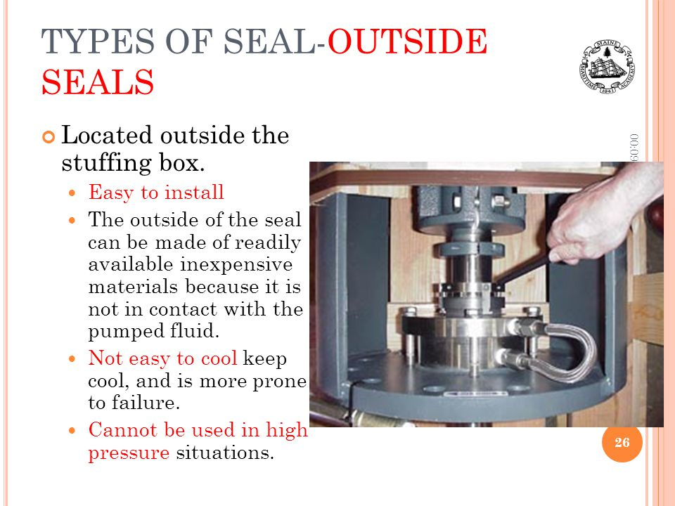TYPES OF SEAL-OUTSIDE SEALS Located outside the stuffing box. Easy to install The outside of the seal can be made of readily available inexpensive mat
