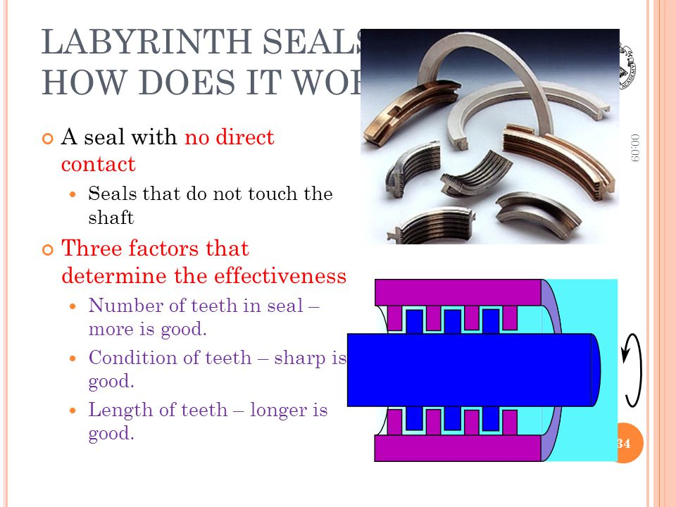 LABYRINTH SEALS – HOW DOES IT WORK A seal with no direct contact Seals that do not touch the shaft Three factors that determine the effectiveness Numb