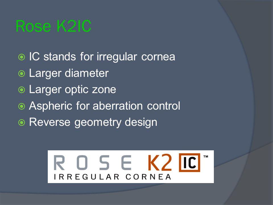 Rose K2IC  IC stands for irregular cornea  Larger diameter  Larger optic zone  Aspheric for aberration control  Reverse geometry design