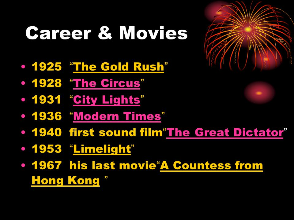 "Career & Movies 1925 "" The Gold Rush "" 1928 "" The Circus "" The Circus 1931 "" City Lights "" 1936 "" Modern Times "" Modern Times 1940 first sound film """