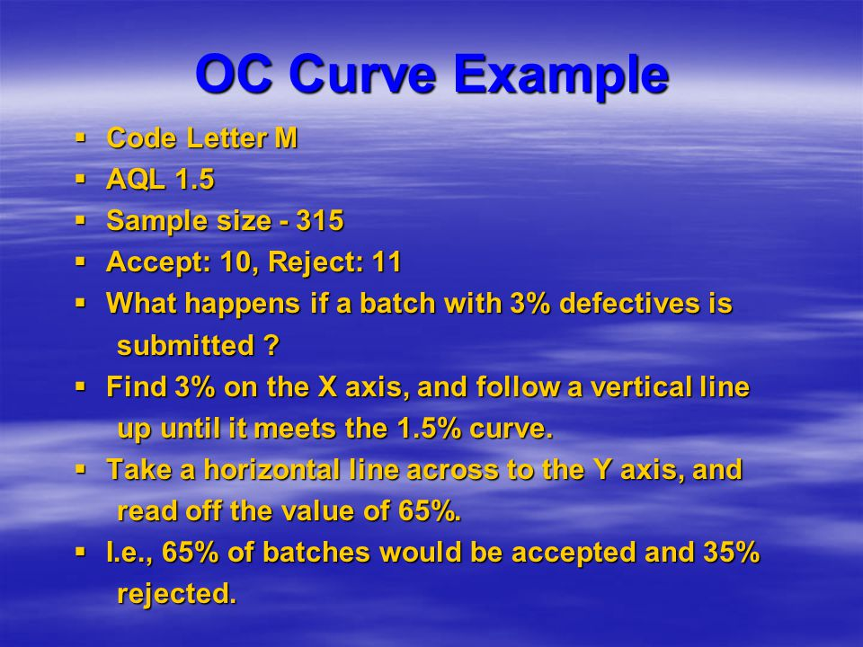 OC Curve Example  Code Letter M  AQL 1.5  Sample size - 315  Accept: 10, Reject: 11  What happens if a batch with 3% defectives is submitted ? 