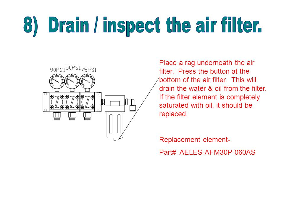 Place a rag underneath the air filter. Press the button at the bottom of the air filter.