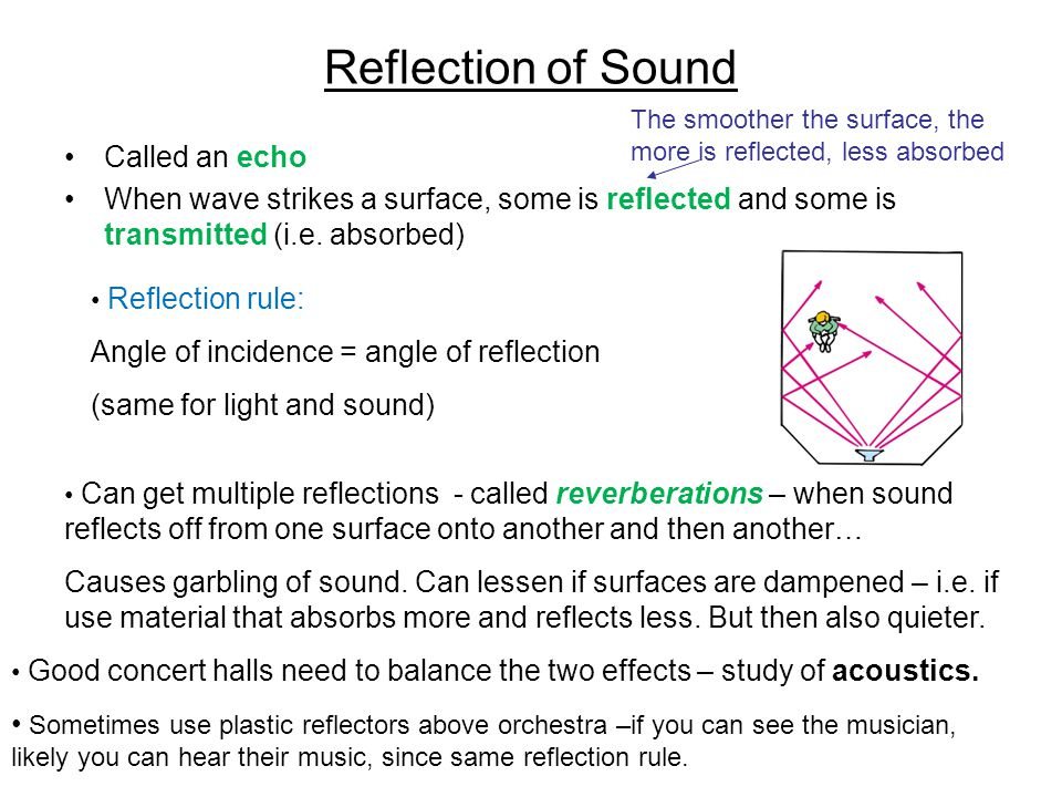 Reflection of Sound Called an echo When wave strikes a surface, some is reflected and some is transmitted (i.e.