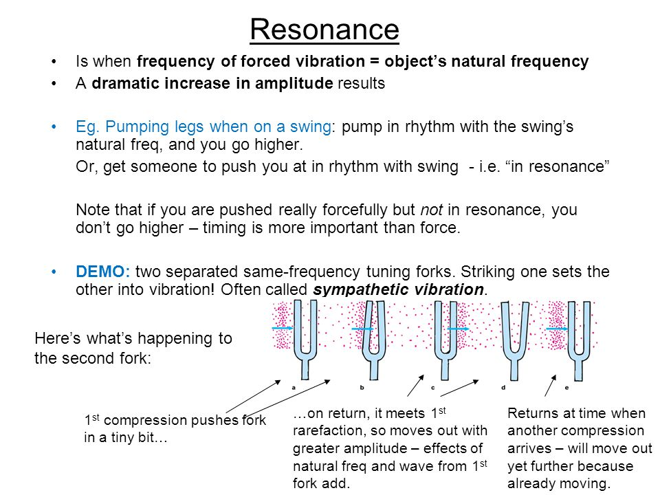 Resonance Is when frequency of forced vibration = object's natural frequency A dramatic increase in amplitude results Eg.