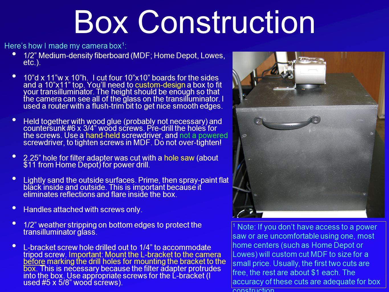 Box Construction 1/2 Medium-density fiberboard (MDF; Home Depot, Lowes, etc.).