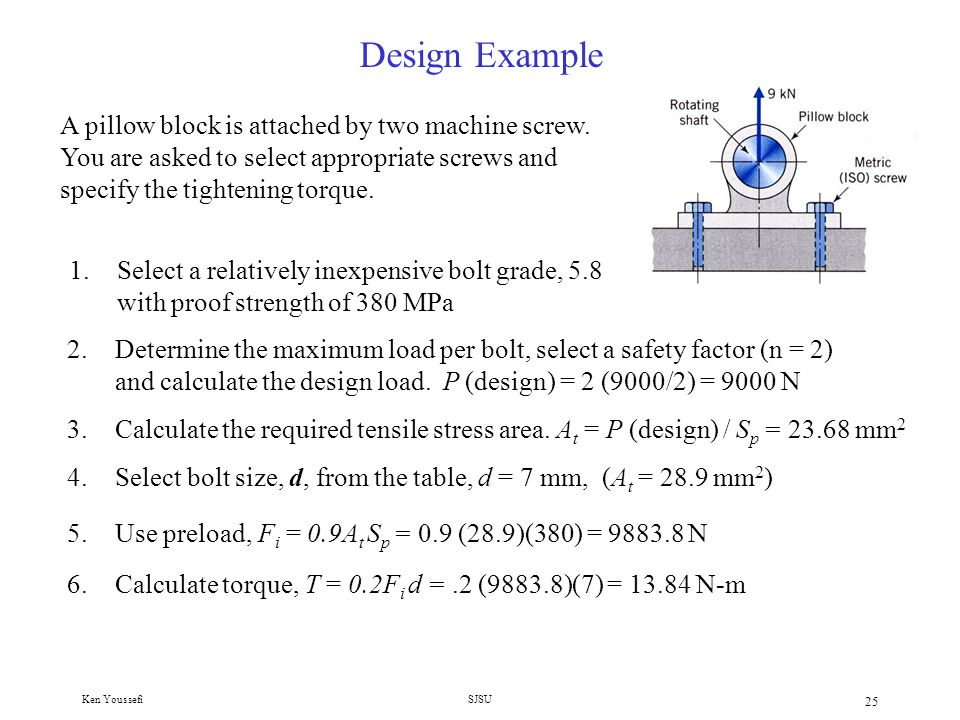 Ken YoussefiSJSU 24 Design of Bolted Joints in Tension under Static loads Design steps Considering stiffness (joint not separating) 1.Select bolt grade ( grade 5 and 8 are common) S p, S y, S u, S e 2.Determine the maximum load per bolt, P.
