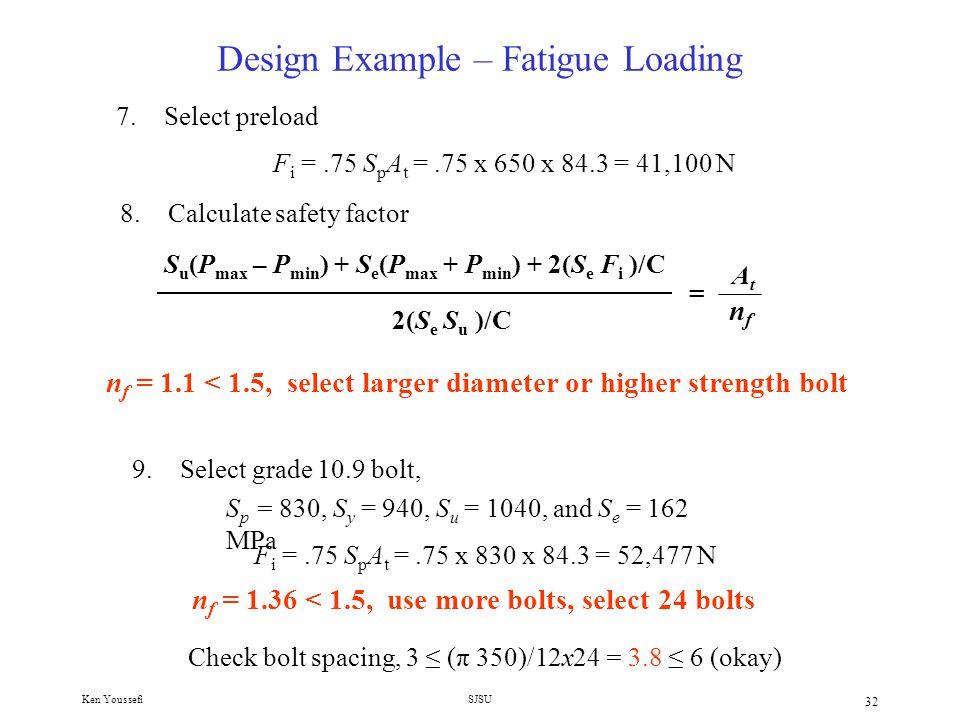 Ken YoussefiSJSU 31 Design Example – Fatigue Loading 6.Calculate stiffness ratio, C.