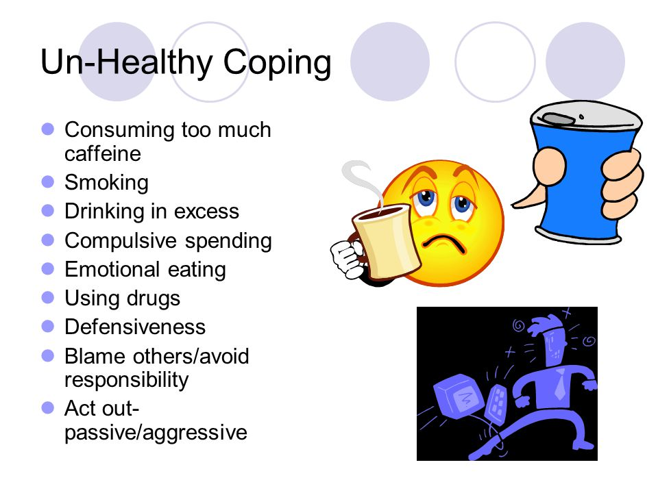 Un-Healthy Coping Consuming too much caffeine Smoking Drinking in excess Compulsive spending Emotional eating Using drugs Defensiveness Blame others/avoid responsibility Act out- passive/aggressive