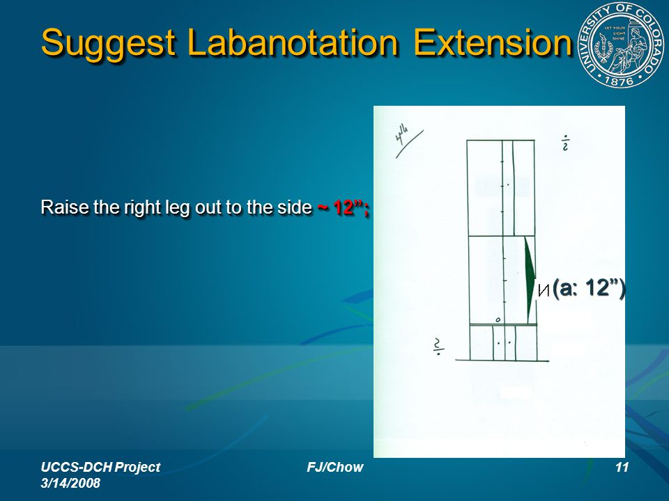 "Suggest Labanotation Extension Raise the right leg out to the side ~ 12""; UCCS-DCH Project 3/14/2008 11FJ/Chow (a: 12'')"