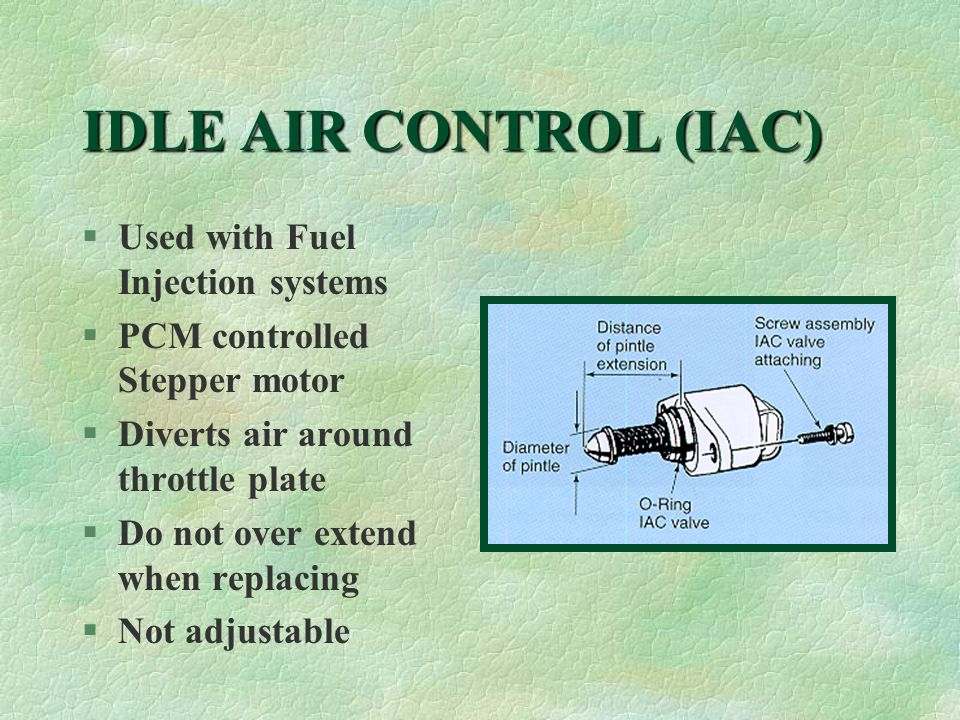 IDLE AIR CONTROL (IAC) §Used with Fuel Injection systems §PCM controlled Stepper motor §Diverts air around throttle plate §Do not over extend when replacing §Not adjustable