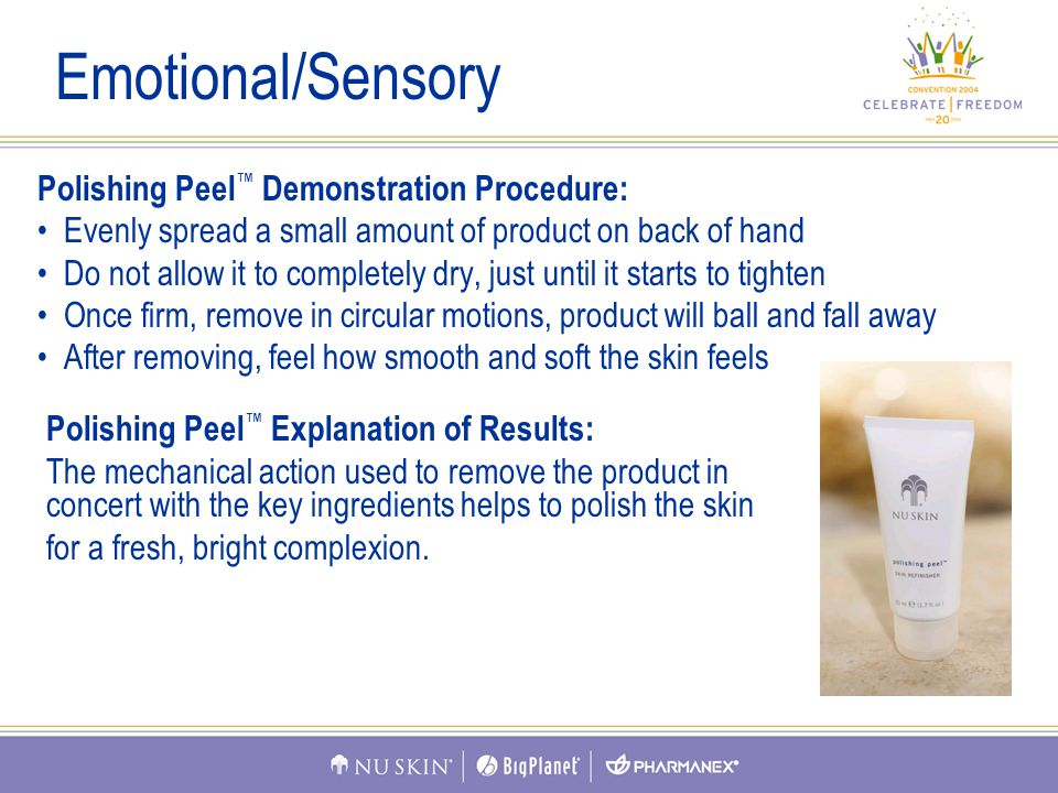 Polishing Peel ™ Demonstration Procedure: Evenly spread a small amount of product on back of hand Do not allow it to completely dry, just until it starts to tighten Once firm, remove in circular motions, product will ball and fall away After removing, feel how smooth and soft the skin feels Emotional/Sensory Polishing Peel ™ Explanation of Results: The mechanical action used to remove the product in concert with the key ingredients helps to polish the skin for a fresh, bright complexion.