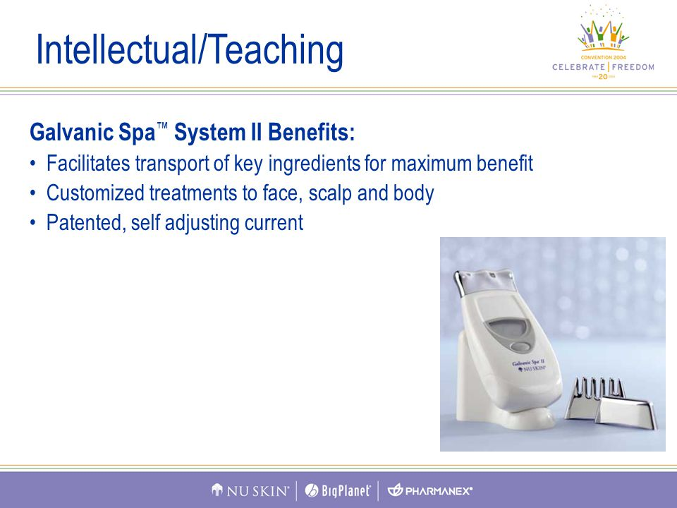 Galvanic Spa ™ System II Benefits: Facilitates transport of key ingredients for maximum benefit Customized treatments to face, scalp and body Patented, self adjusting current Intellectual/Teaching