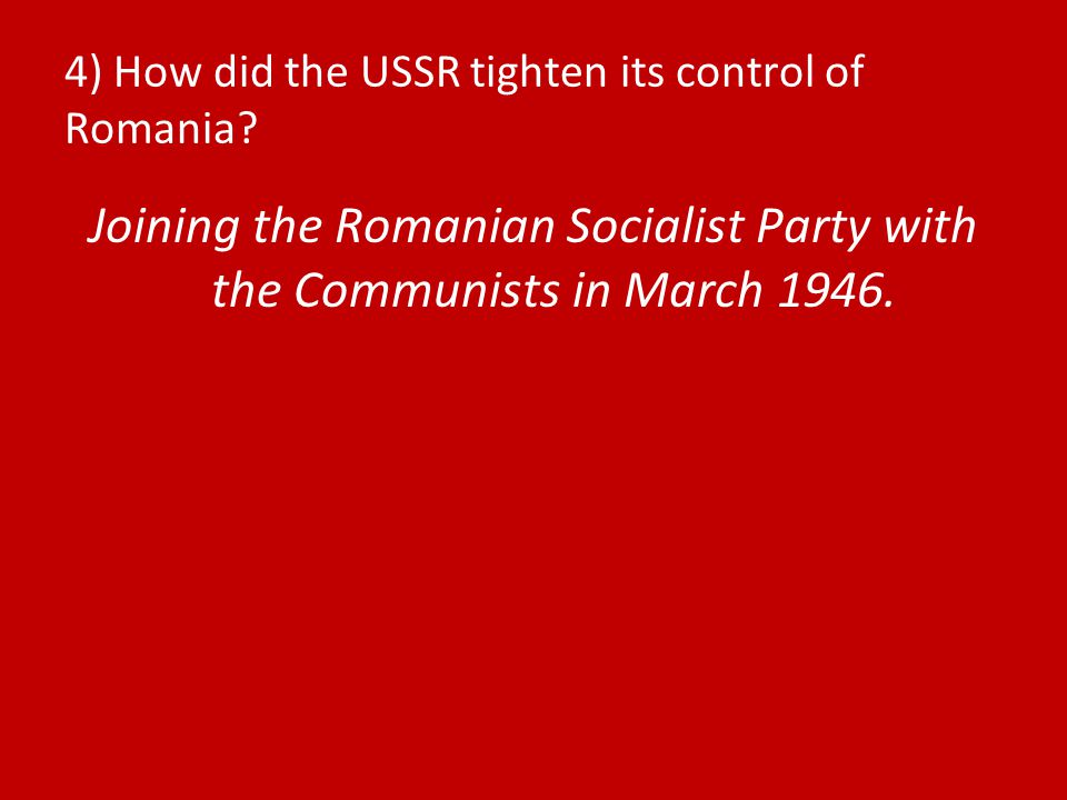 5) How did the USSR tighten its control of Bulgaria.