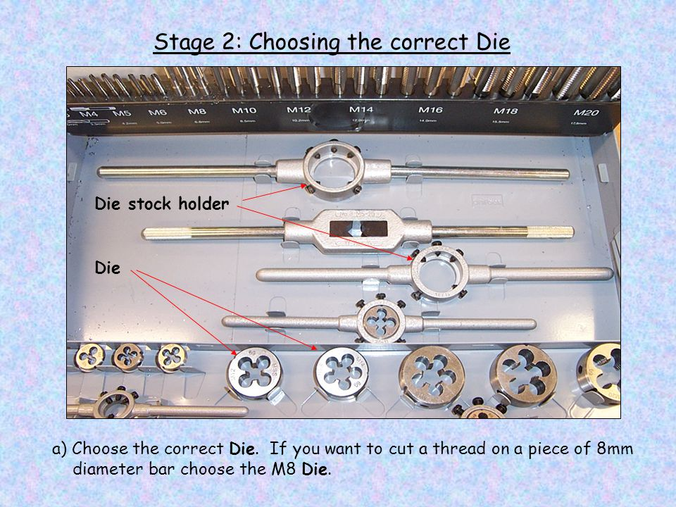 Stage 3: Fitting the Die a) Fit the Die into the Die Stock Holder and tighten up all 5 screws Die Die stock holder