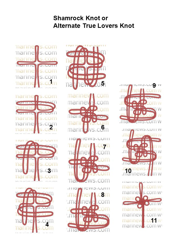 Shamrock Knot or Alternate True Lovers Knot 1 2 3 4 5 6 7 8 9 10 11
