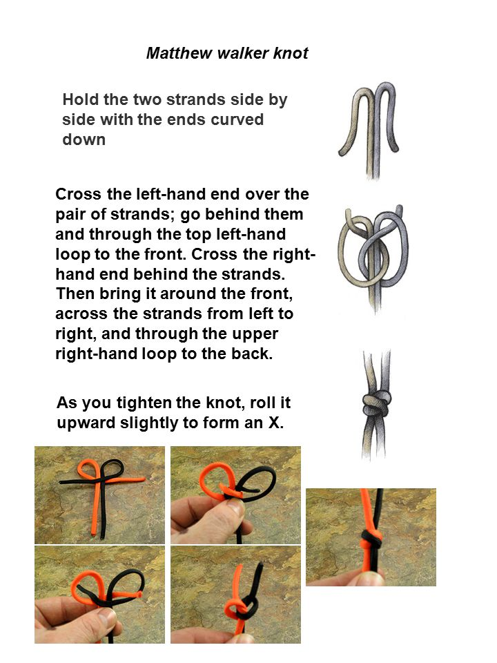 Matthew walker knot Hold the two strands side by side with the ends curved down As you tighten the knot, roll it upward slightly to form an X. Cross t