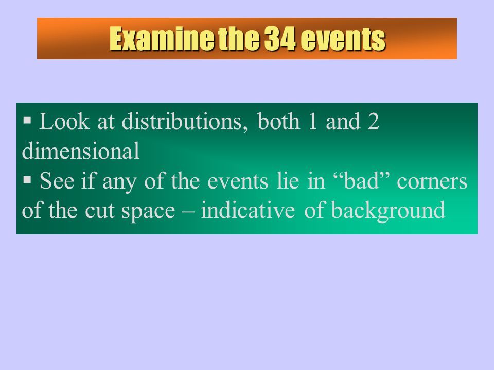 Examine the 34 events  Look at distributions, both 1 and 2 dimensional  See if any of the events lie in bad corners of the cut space – indicative of background