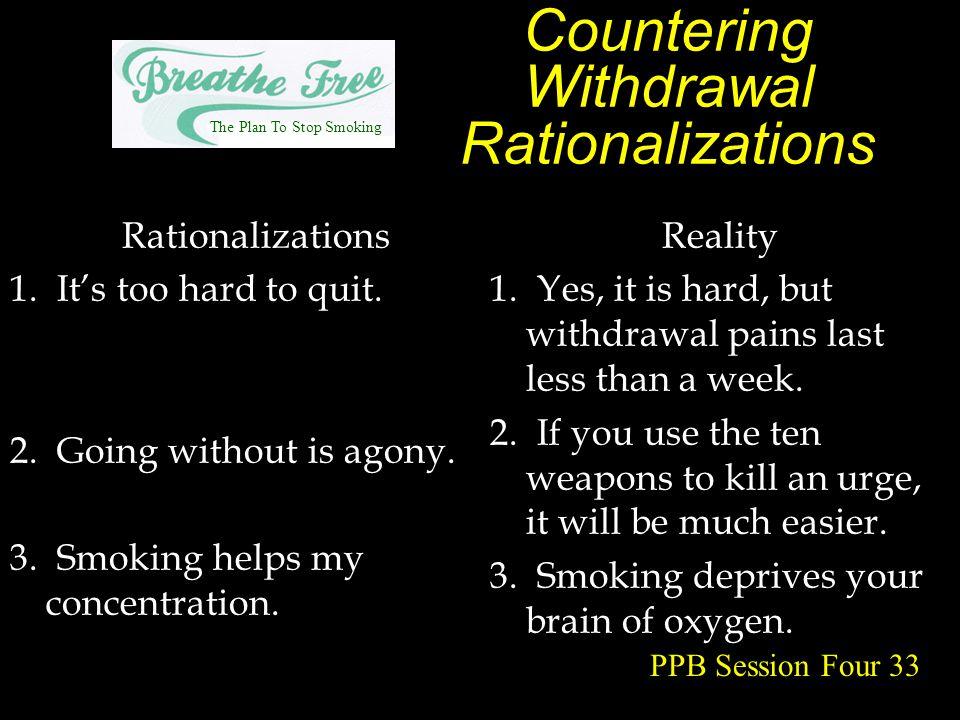 Countering Withdrawal Rationalizations Rationalizations 1.