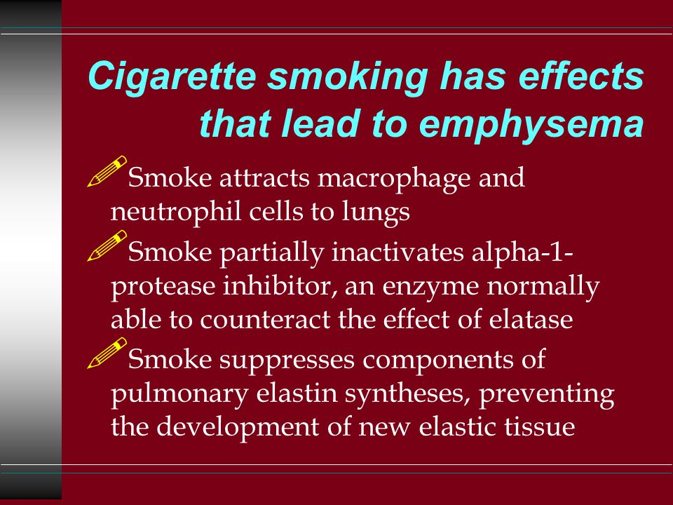 Cigarette smoking has effects that lead to emphysema .
